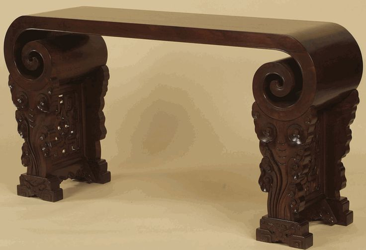 Asian Furniture: Scroll Styled Console Table From Beijing, China
