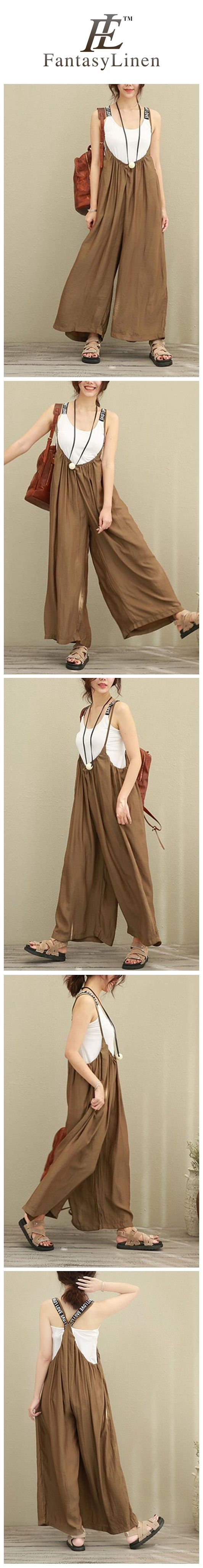 Brown Wide Leg Loose Silk Overalls Women Clothes 9952