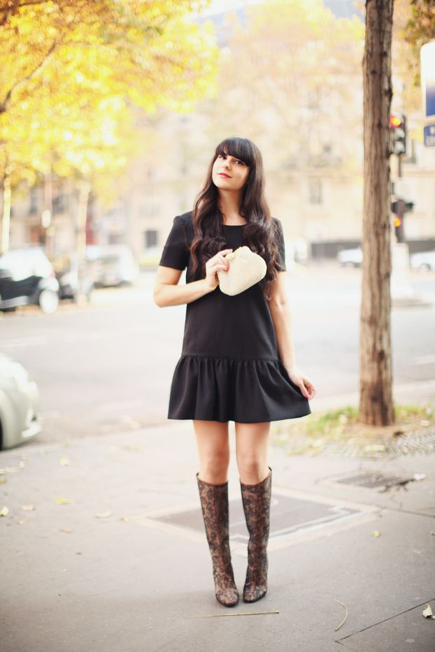 Black Mini-dress + Black Lace Boots