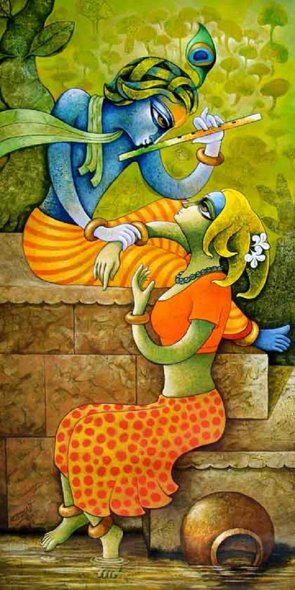 Buy 'Bansidhar 24' a beautiful painting by Indian Artist Ramchandra Pokale