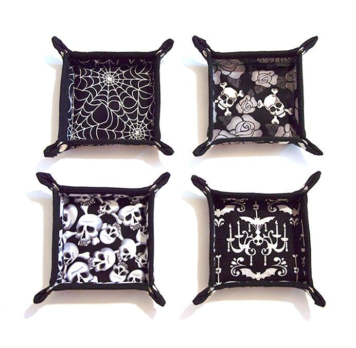 Gothic Skulls Roses Spider Web Bats Valet Tray by Pornoromantic