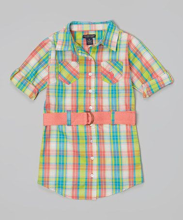 Loving this Calypso Peach Plaid Belted Button-Up Dress - Toddler & Girls on #zulily! #zulilyfinds