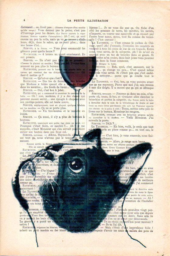French Bulldog Print, Bulldog with wine glass, French design, black and…