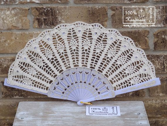 Crochet HAND FAN in Ivory Wedding Accessory by Crochetoville