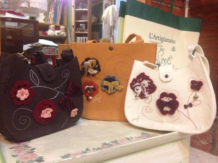borse di feltro create interamente a mano: made in italy l'artigianato di nenè