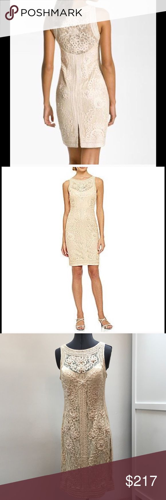 Intricate Sue Wong Sheath Absolutely stunning Sue Wong lace sheath dress in ivory. Slide into this dress that hugs and accentuates your curves perfectly. Intricate pattern that looks even better in person. Embroidered lace covers this dress, with lining in all the right places. The perfect special occasion dress that will make you the stand-out guest!  In mint condition. (First 2 pics are stock.  The rest are my dress:) Sue Wong Dresses