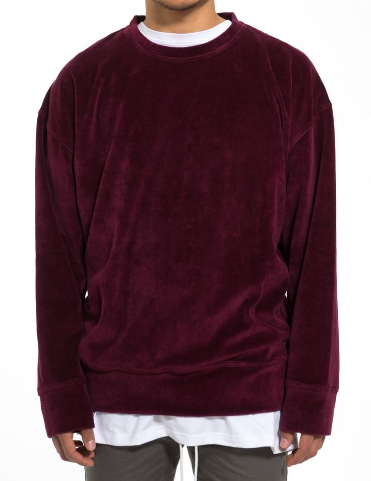 OVERSIZED VELVET SWEATSHIRT BORDEAUX | VNTCH | CLOTHING