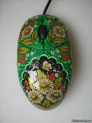 """Мышка""""Хохлома.Ромашки на зеленом"""""""
