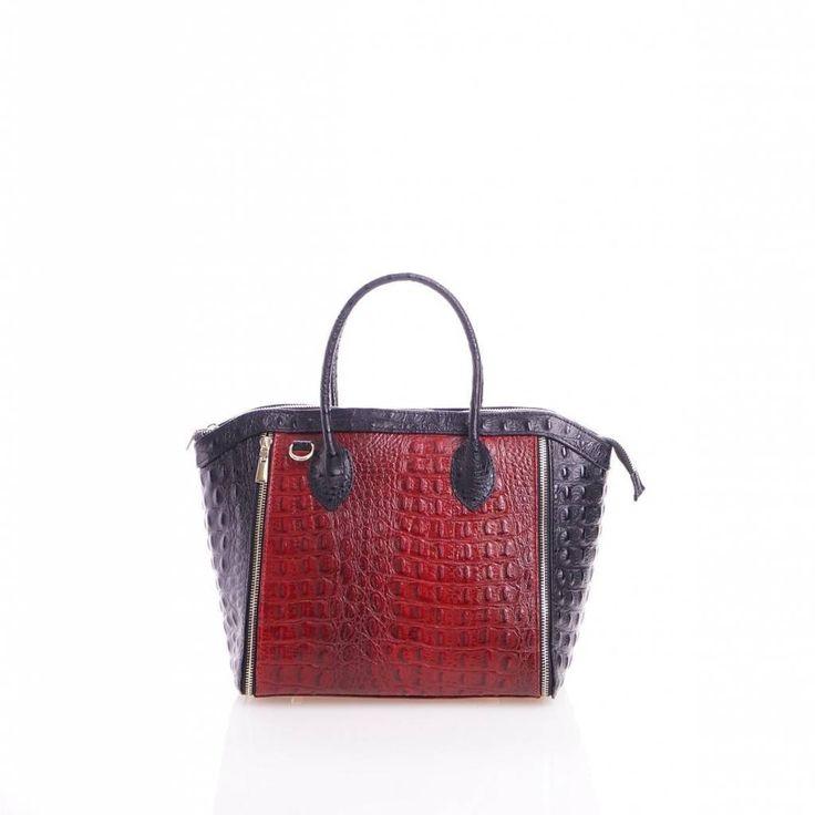 - Leder handtas met kokosnoot print in zwart met rood