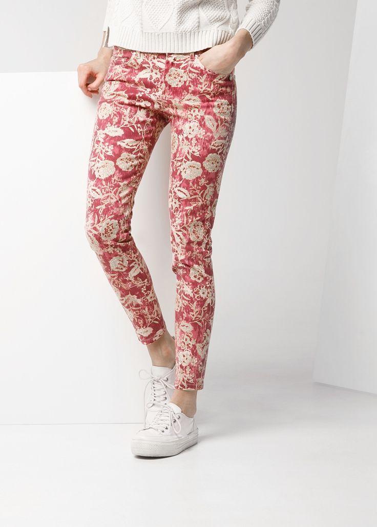 Dar kesimli baskılı pantolon
