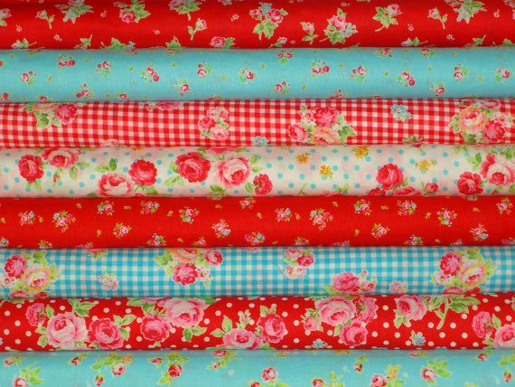 Shabby Flower Sugar Retro Red and Aqua Blue Turquoise Rose Floral by Lecien Chic 1/2 Yard Fabric  Bundle A - 4 Yards Total