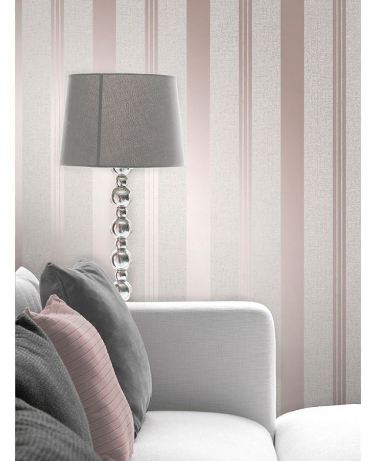 This Quartz Stripe Wallpaper in rose gold has alternating stripes of various widths and contrasting finishes with glitter and metallic elements. Free UK delivery available