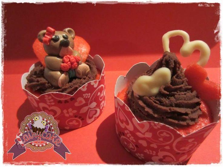 Cupcake San Valentín. Osito