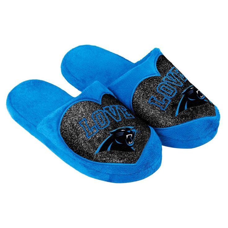 Carolina Panthers Slippers Logo NEW NFL Womens Slide House shoes! Love Glitter