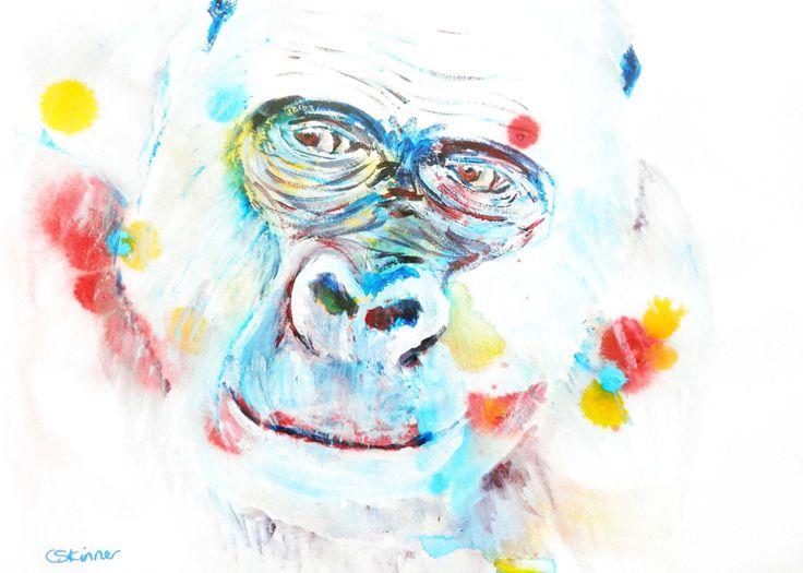 Blue gorilla art print - wildlife art print gift - animal wall art - African animal art - ape print - African wildlife decor - blue ape gift by CarolineSkinnerArt on Etsy
