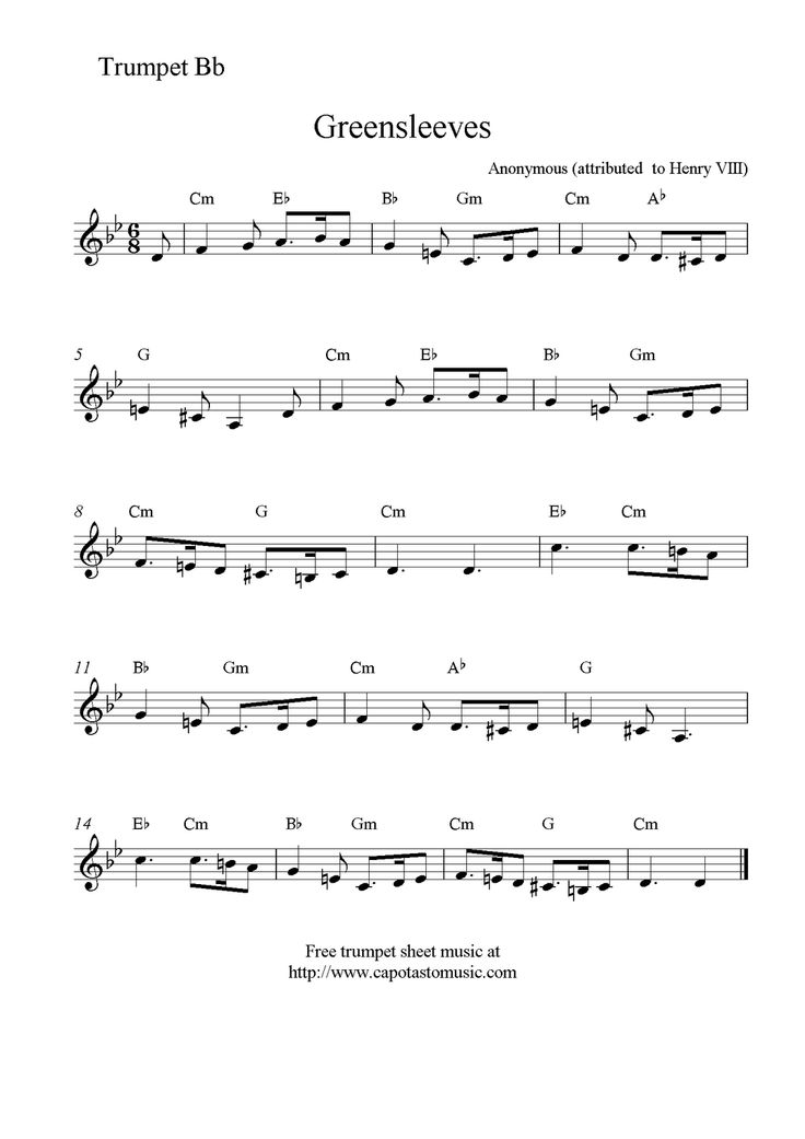 Geeky image for free printable sheet music for trumpet