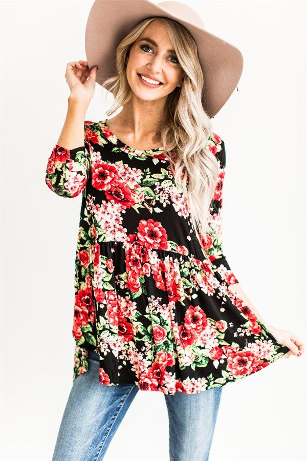 ​You can't go wrong with our Hi-Low Floral Baby Doll Tops! Available in 2 stunning print colors and perfectly versatile for transitioning into spring weather!