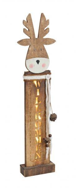 Elch aus Holz mit Tannenzapfen, Stand Elch, Shabby Chic, LED Beleuchtung, ca. 66 in Möbel & Wohnen, Feste & Besondere Anlässe, Jahreszeitliche Dekoration | eBay
