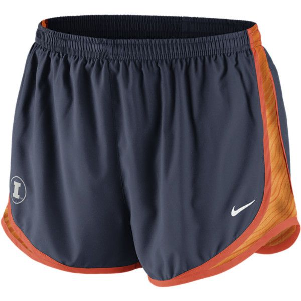 Nike College Seasonal Tempo Illinois Women's Running Shorts - Navy, L ($38) ❤ liked on Polyvore featuring activewear, activewear shorts, nike activewear, nike, logo sportswear and nike sportswear