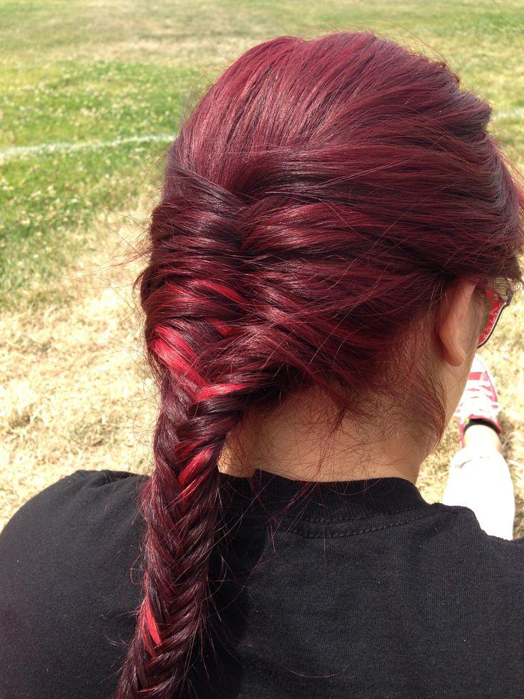 Fishtail Braid On Burgundy Hair Hair Pinterest My