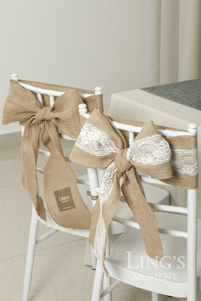 6x94 inch Burlap Chair Sashes Tie Bow Hemmed Edge 1/10/50pc Rustic Wedding Decor #Lingsmoment