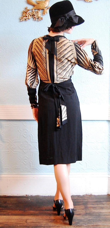 Vintage 1930-х годов платье 30-х годов платье Черное & Tan Искусство: По concettascloset