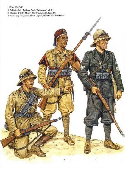 """Regio Esercito e MSVN, Libia, 1942 - 1 Soldato 64o Rgmt Artiglieria, Divisione """"Catanzaro"""" - 2 Muntaz (caporale) 3o Battaglione """"Nalut"""", 4o gruppo, Divisione """"Libia"""" - 3 Primo caposquadra, 231a Legione, Divisione CC.NN. """"XXVIII Ottobre"""""""