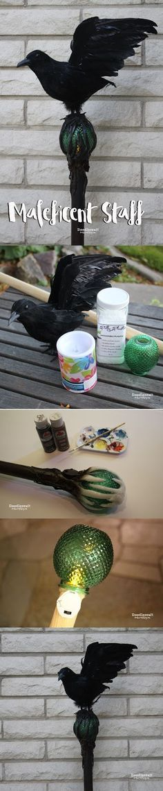 Maleficent Movie Costume Staff DIY!  Halloween costume prop.  Really lights up!