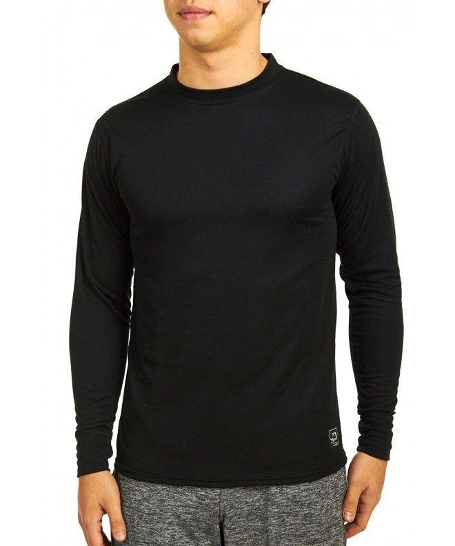 Mid Weight Double Base Layer Men's Long Sleeve Crew Tee - Black -  CK112MFJDCJ,Men's Clothing, Activ…   Base layer men, Mens outdoor clothing,  Long sleeve tshirt men