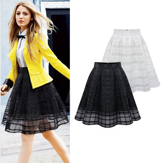 Saia Plissada 2014 Summer Fashion Midi Tulle Skirt Women High Waist Black White Pleated Skirt Saias Femininas Work Organza Skirt US $18.89