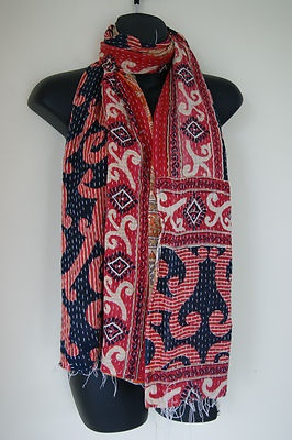Vintage Boho Reversible Indian Kantha Hand Quilted Cotton Scarf Hijab BNWOT | eBay