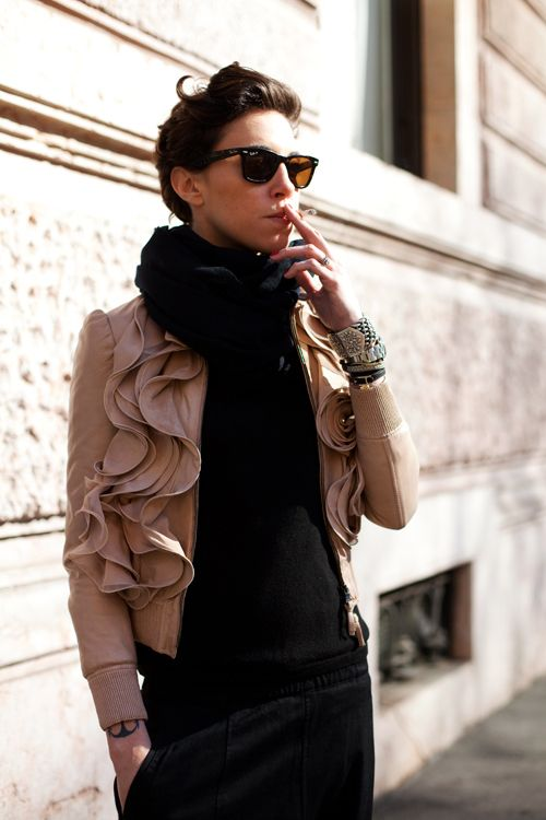 On the Street...Alessandra, Milano: Love this jacket--only in Milan.  from Sartorialist