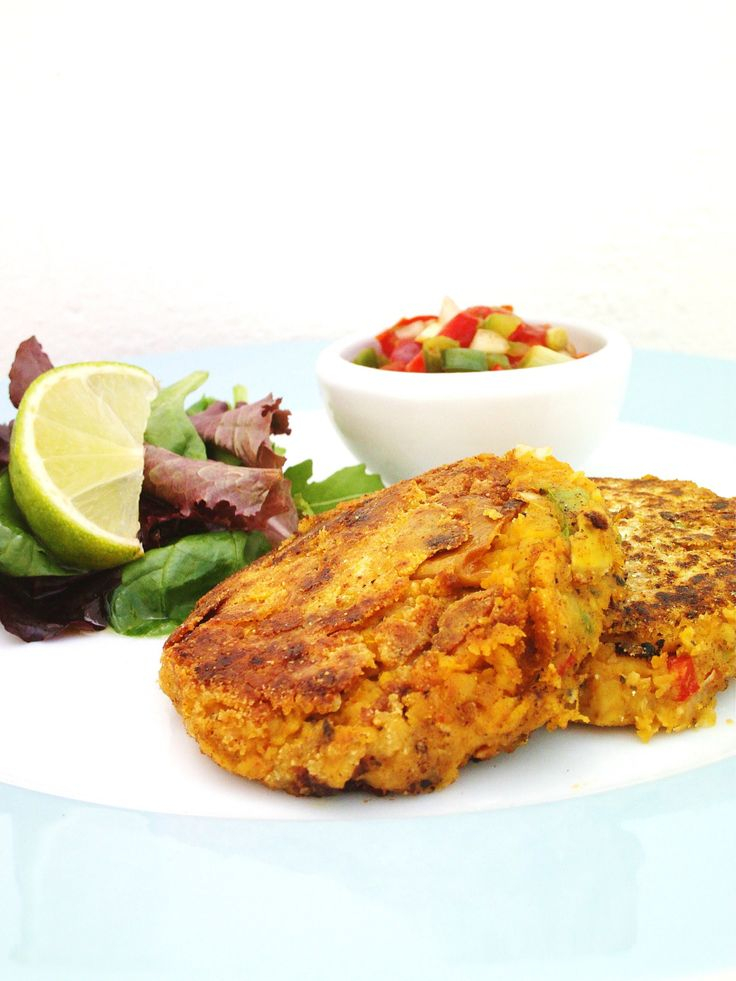 Chickpea Fritters with Red and Green Pepper Salsa | Salsa, Chickpea ...