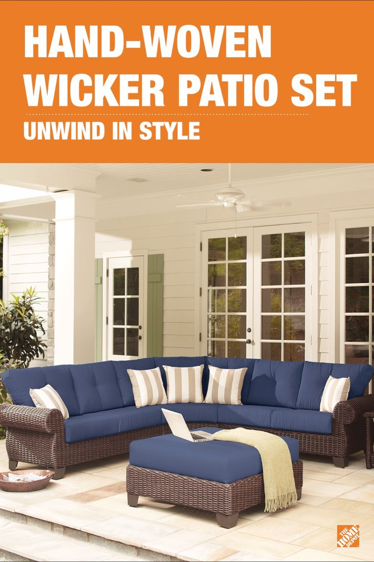 comfortable patio furniture. The Allweather Woven Wicker Patio Furniture And Comfortable Cushions Make This Sectional Perfect E