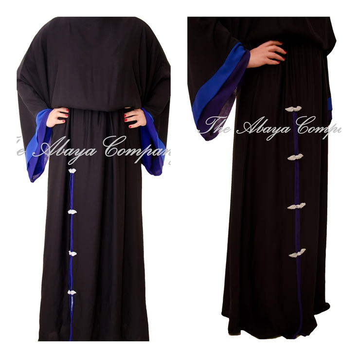 """Beautiful day wear abaya with a bit of color pop and detailing for a statement. Super functional. For inquiry or order contact us on theabayacompany@gmail.com or follow us on Facebook """"The Abaya Company"""". Dhs 600"""