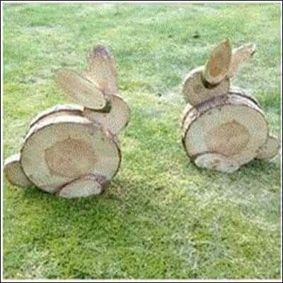 Houten konijnen