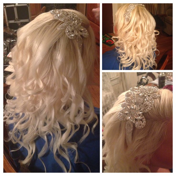 headband from etsy white and silver and rhinestones blonde hair down with curls for wedding trial special day special events freelance hair stylist nj - Freelance Hair Stylist