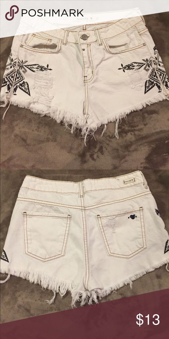 White distressed high waisted shorts Aztec print This brand is quite high quality in Brazilian markets. These shorts are my #1 favorite shorts but are too big for me now. Listing as a 6 because they fit as such. Very very comfortable high quality material Rosa Cha Shorts