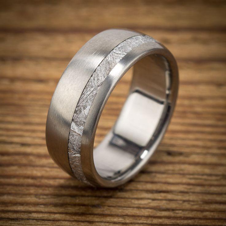 Elegant Titanium Meteorite Offset Wedding Band