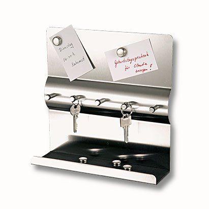 Edelstahl Schlüsselbrett mit Magnetwand + Magnete Schlüsselleiste mit Magnettafel Schlüssel-und Memoboar Schlüsselbrett