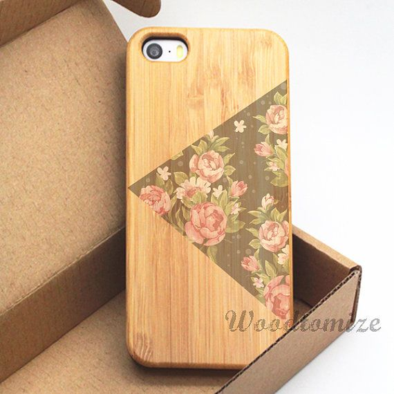iPhone 5C case, iPhone 5S 5 case, Wood cover, Vintage floral flower rose style, Bamboo, Cherry wood, FREE screen protector [A23] on Etsy, $18.99