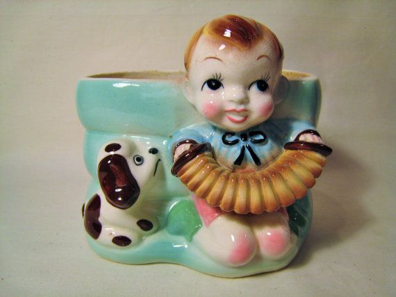1950s Rockabilly Boy with Accordion and Dog Ceramic Beehive Shaped Planter - Kitschy Nursery Decor - Aqua, Turquoise