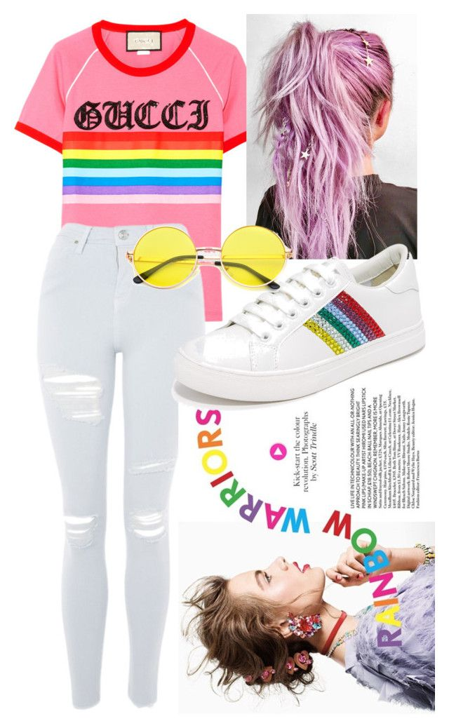 """-indy- // rainbows"" by indiravidya on Polyvore featuring Gucci, Topshop, Chloé and Marc Jacobs"