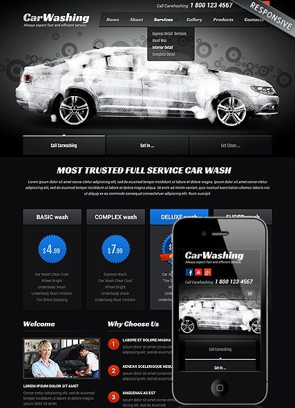 Car washing, Bootstrap template - ID: 300111812