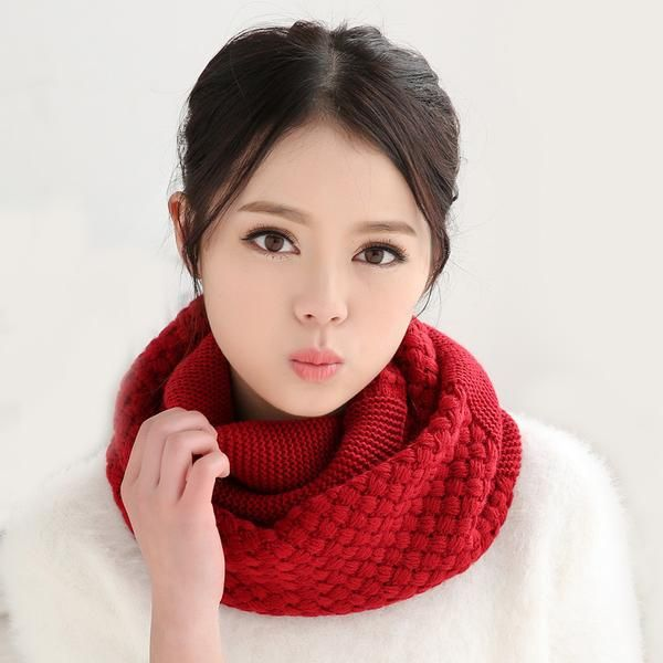 Fashion Pure Neck Woolen Scarf Autumn Winter Long Ring Scarves