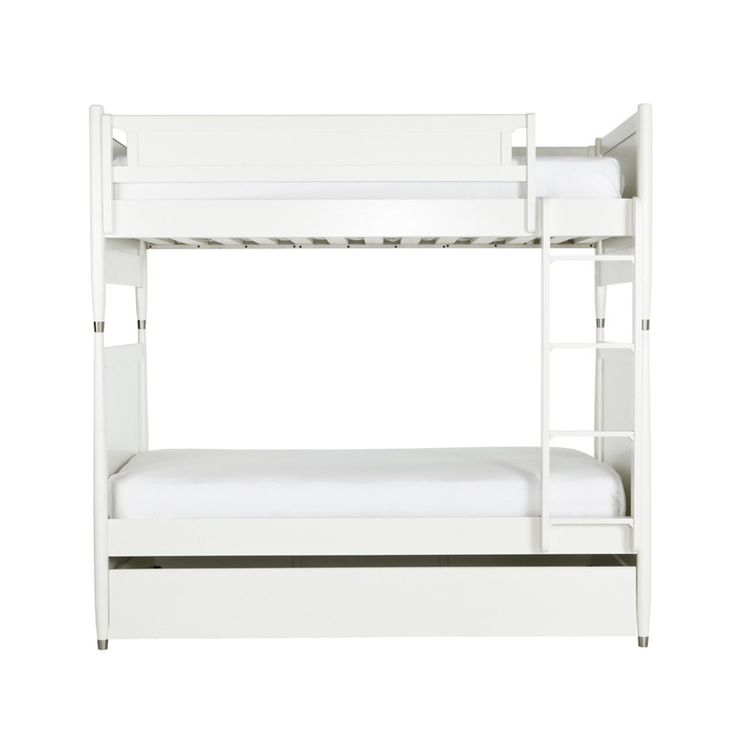 Mid-Century Twin Bunk Bed with Trundle in French White