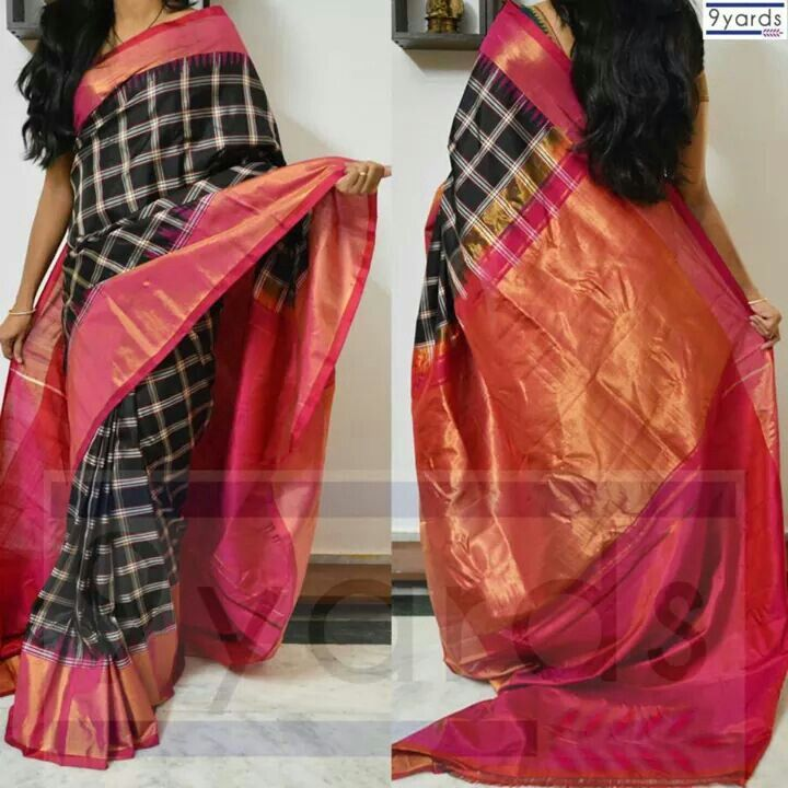 Checked saree