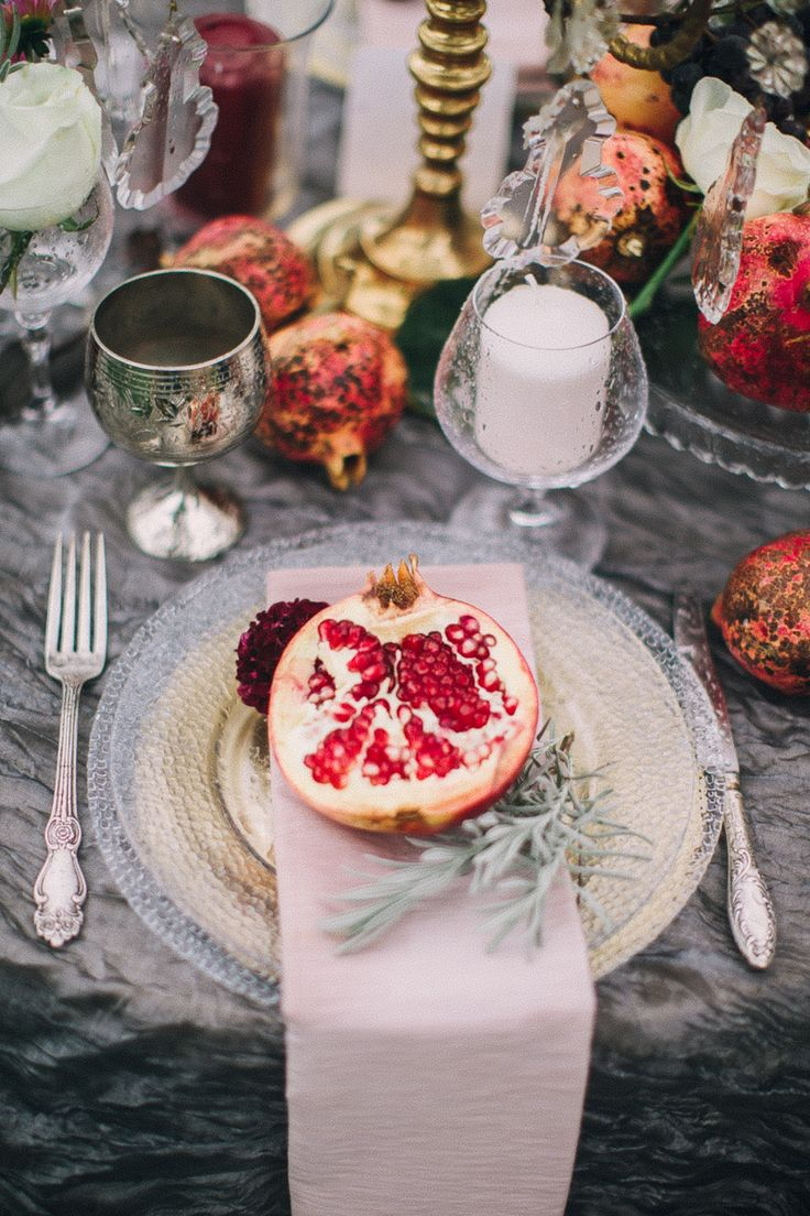 boho pomegranate tablescape #decor #silver #fruits
