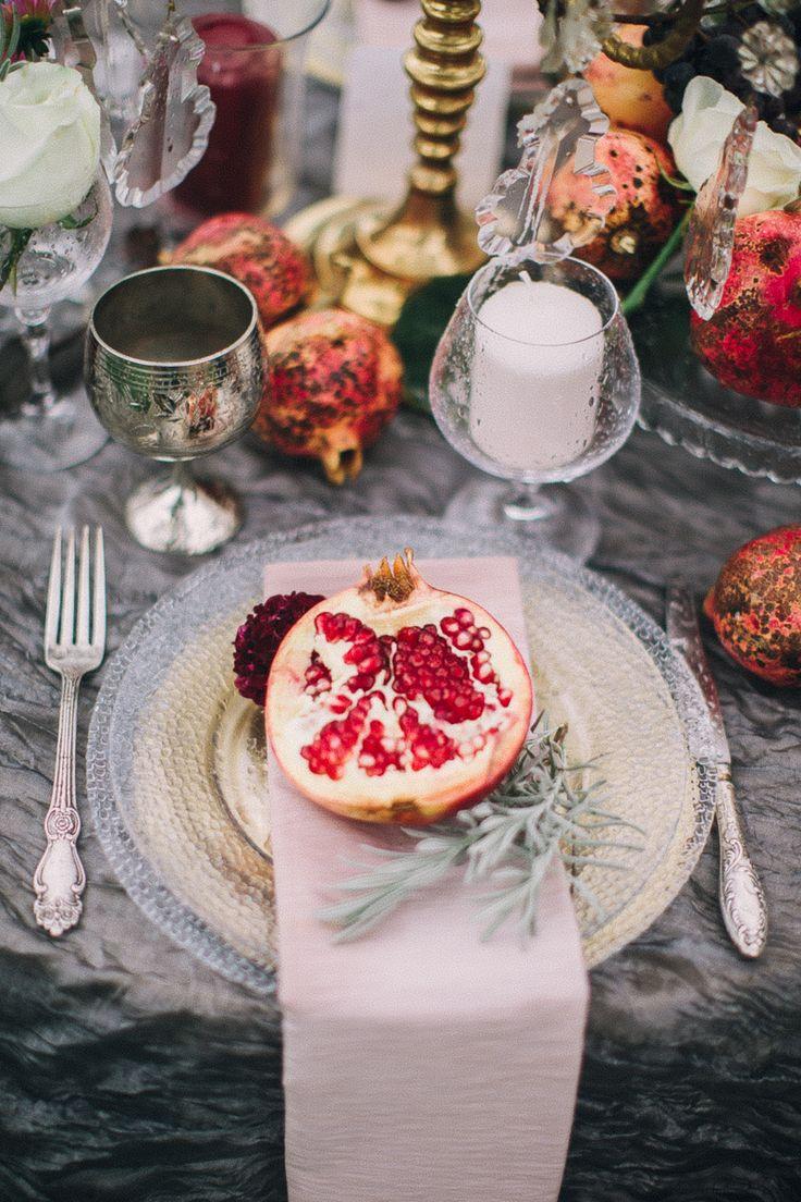 boho pomegranate tablescape #decor #silver #fruits