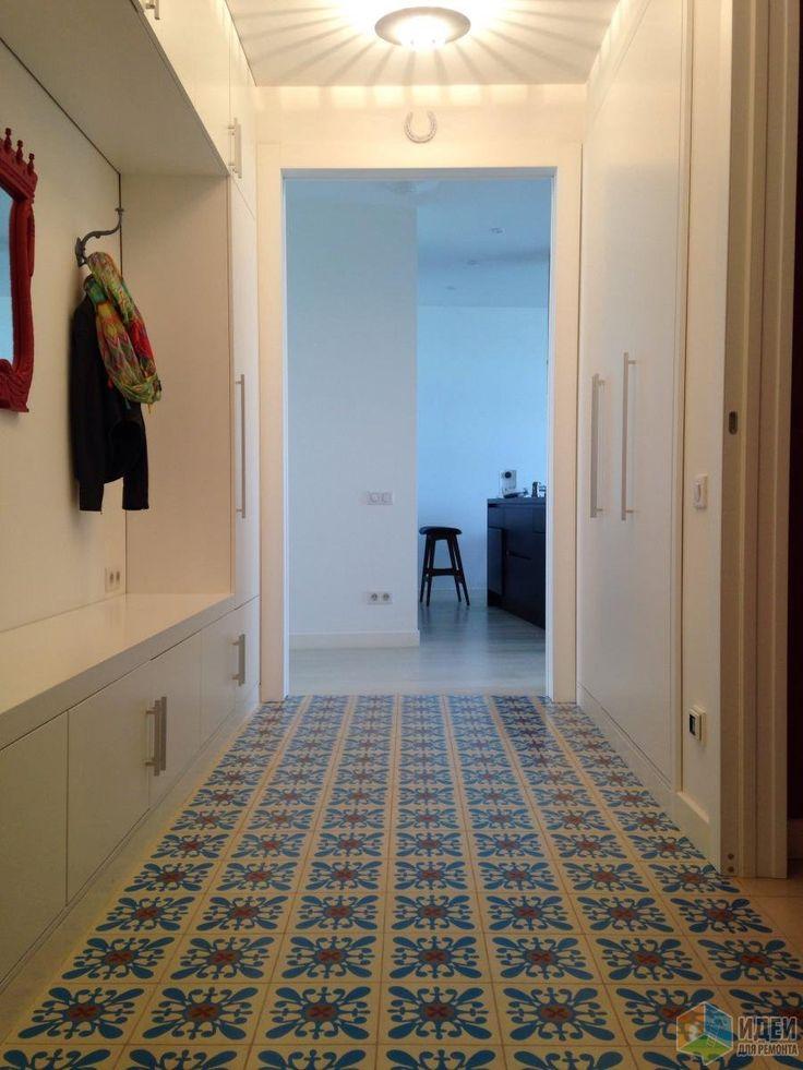 Белый коридор интерьер, красивая напольная плитка в коридоре